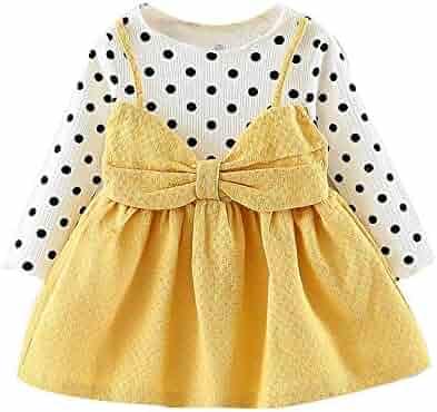 0cd4c3ca4c3 Toraway- Baby Girls Dress Newborn Clothes for 0-24 Months Long Sleeve Dot  Bowknot