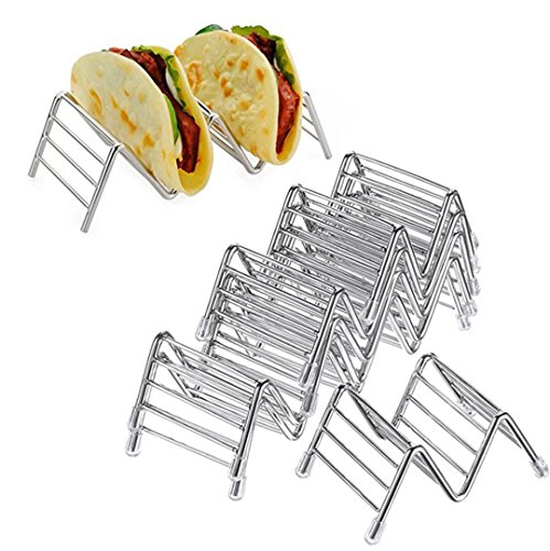 Hot Sale! Hongxin Stainless Steel Taco Holder Stand Holds Wave Durable Shell Mexican Food Rack Useful Pizza Tool Restaurant Food Show Pie Tools (A) by Hongxin (Image #3)