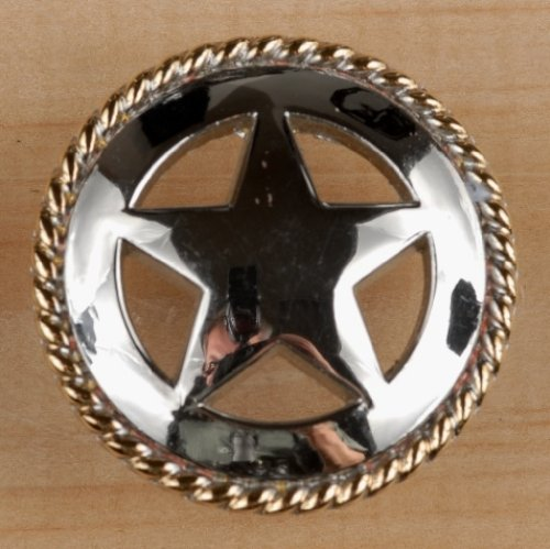 Set of 6 Rustic Rope Lone Star Drawer Pulls Cabinet Knobs Western Southwest Decor Texas (Nickel Gold) - Rustic Star Drawer Pulls
