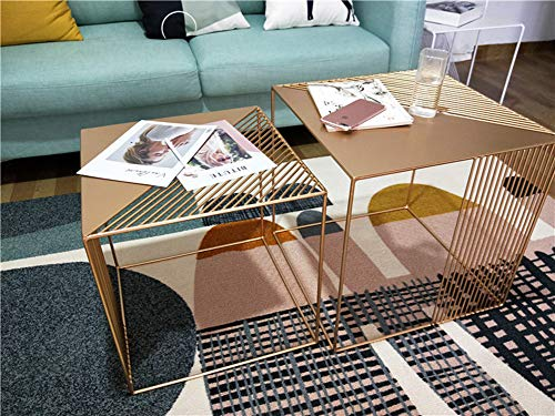 Iron Coffee Table Indoor Outdoor Square Iron End Table Nesting Side Tables Plant Stand Gold Size S & Size L (Iron Nesting Tables Square)