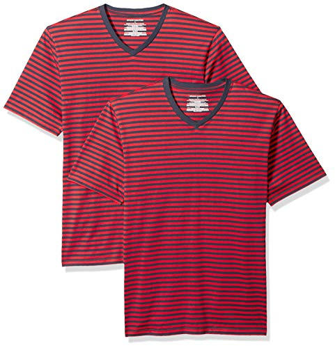 Amazon Essentials Men's Loose-Fit Short-Sleeve Stripe V-Neck T-Shirts, Red/Navy, Small ()