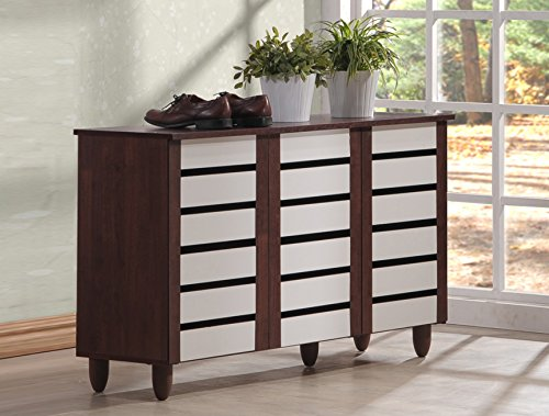 Wholesale Interiors Baxton Studio Gisela Oak and White 2-Tone Shoe Cabinet with 3 Doors -