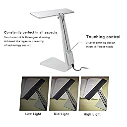 GranVela Portable USB Rechargeable LED Desk Lamp with 3-Level Dimmer and Touch-Sensitive Control,Lightweight Table Lamp Light(Silver)