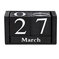 Pasamer Vintage Wooden Calendar, Desktop Wood Block Month Date Display Home Office Decoration(01)