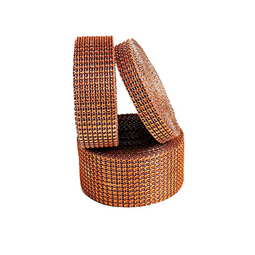 USIX 3/4/6/8/10/12 Rows Artificial Sparkling Glitter Rhinestone Diamond Mesh Ribbon Webbing Wrap for DIY Arts Craft Sewing Wedding Bouquet Cake Birthday Party Decor(Orange,8 Row-4cm/1.57'') by USIX