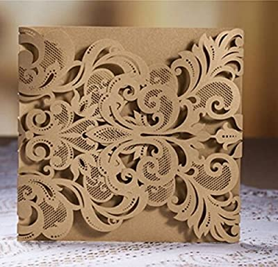 CYNDIE Hot Sale New Luxury Laser Cut Fleur de Lis Lace Wedding Invitation Invite Template Card Cover