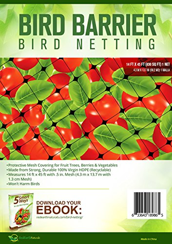 BEST BIRD NETTING 14 x 45 ft Bird Net - Smart Way to Protect Fruit Trees, Bushes & Vegetables from Hungry Birds, Garden Netting Protects Gardens from Chickens & Poultry (Box To Measure Balloons)