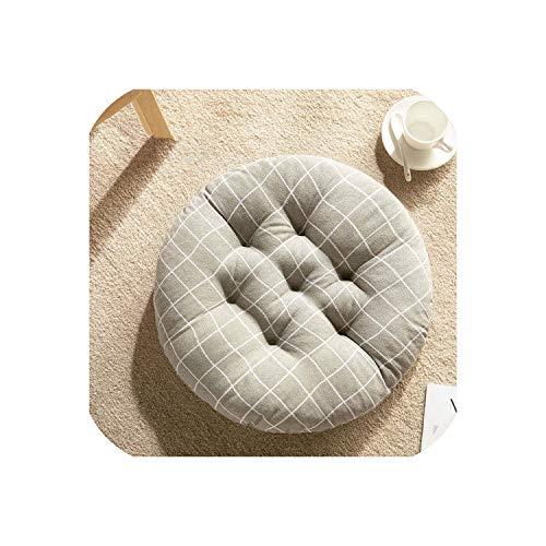Round Tatami Cushion Seat Padf Sofa Pillow Thickening Almofadas Cotton Seat Cushion Chair Pad Office Buttocks Cushion Home Decor,Gray Grid,50x50cm (Nz Outdoor Furniture Covers)