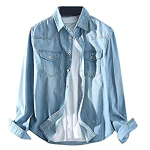 Men's Denim Relaxed Shirts Long Sleeve Washed Blouse