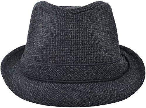 [Simplicity Short Brim Teardrop Crown Wool Blend Fedora Hat 3079_Grey] (Costumes Pizza Hat)