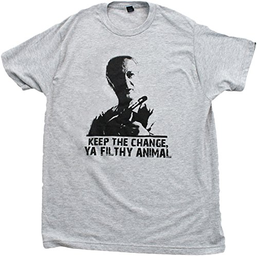 KEEP THE CHANGE, YA FILTHY ANIMAL Unisex T-shirt / Home Alone, 90s Movie Tee-Gray-Large 90s Animal