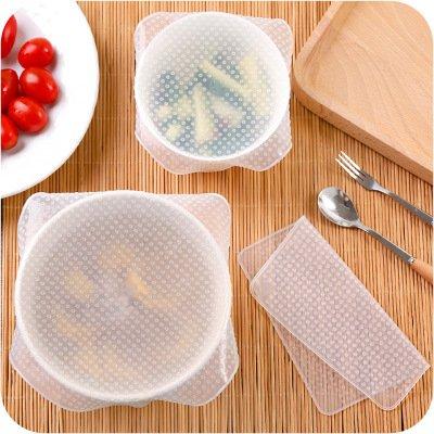 Reutilizable alimentos Wrap 4/unidades Eco Stretch tapas cuenco de favolook sin BPA ampliable sello de silicona para horno de microondas y congelador de almacenamiento para mantener alimentos frescos