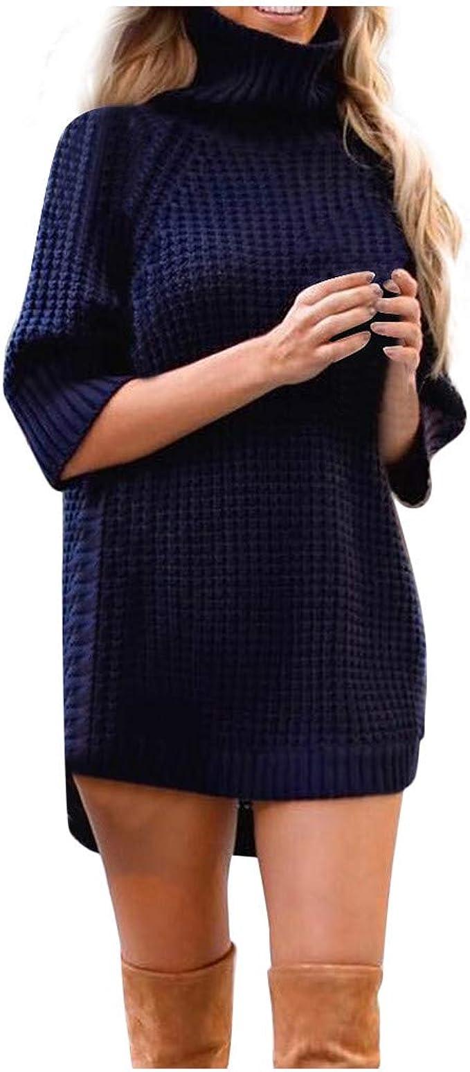 Xinxinyu Suéter de Punto Larga Dama, Cuello Alto Jersey Tejido ...