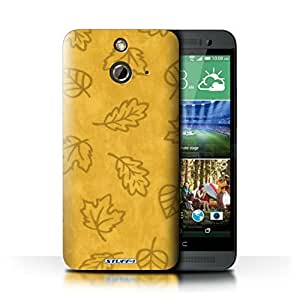 KOBALT? Protective Hard Back Phone Case / Cover for HTC One/1 E8 | Yellow Design | Textile Effect Leaf Pattern Collection
