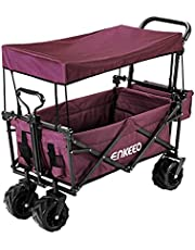 ENKEEO Garden Cart Foldable Trolley Pull Wagon with Big Wheels Removable Roof Tilting Handles Large Capacity for Beach Camping