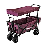 Cheap ENKEEO Foldable Utility Wagon Collapsible Sports Outdoor Cart with Removable Canopy, Large Capacity and Tilting Handle for Camping Beach Sporting Events Concerts Shopping (Burgundy)
