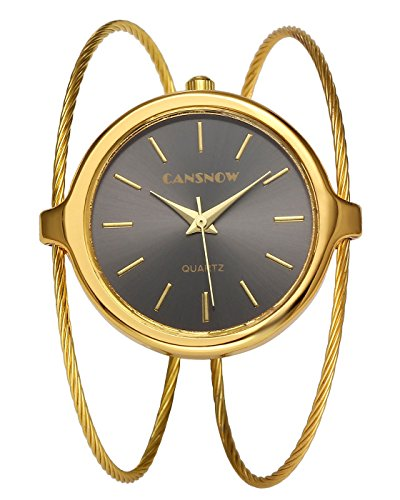 Top Plaza Womens Fashion Casual Gold Tone Analog Quartz Bangle Cuff Bracelet Wrist Watch, Unique Elegant Thin Metal Band Big Face Watches for Small Wrist(Silver Dial) (Thin Cuff Watches)