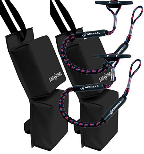 Bundle Includes 4 Items - 2 HULL HUGRHH-P1B PWC Fenders (Black) and 2 AIRHEAD AHDL-4 Bungee Dockline 4 Feet