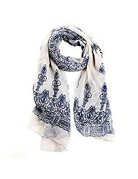 Bluelans® Women's Autumn Spring Fashion Soft Big Long Scarf Vintage Printing Scarves (Creamy White)