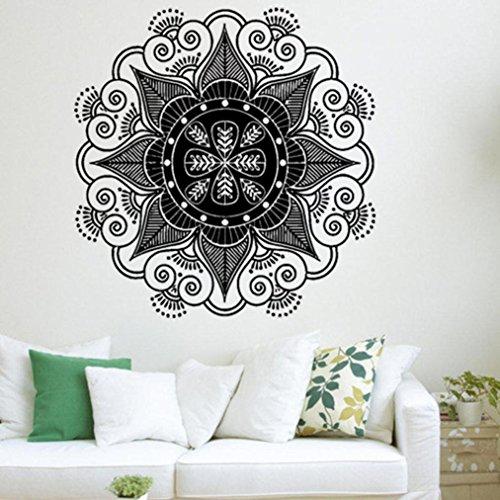 1PC Mandala Flower Wall Sticker,Woaills Medium Size Sham Round Waterproof Vinyl Art Bedroom Home Family Mural Decor (Asian Sham)