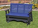 5FT-BLUE-POLY LUMBER ROLL BACK Porch GLIDER Heavy Duty EVERLASTING PolyTuf HDPE - MADE IN USA - AMISH CRAFTED