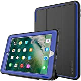 TECHGEAR D-FENCE Case for New Apple iPad 9.7' ( 2018 / 2017 ) - Slimline Shock Proof Tough Rugged Protective Armour Defence Smart Case with Detachable Screen Cover / Stand - Kids Schools Builders Workman Case [BLACK / BLUE] - for 5th & 6th Generation iPad 9.7'