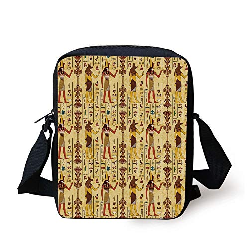 Egyptian,Grunge Aged Paper Style Backdrop with Retro Religious Characters and Hieroglyphs,Multicolor Print Kids Crossbody Messenger Bag Purse