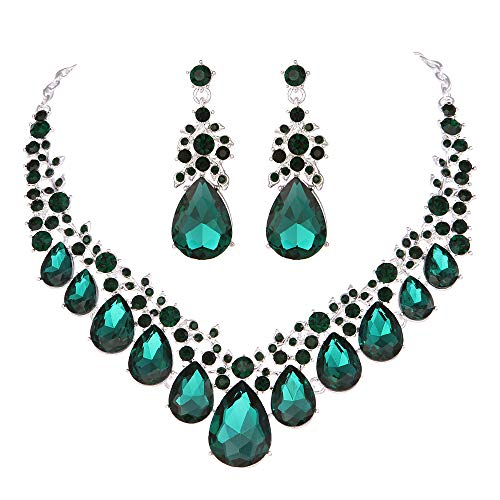 - Youfir Bridal Rhinestone Crystal V-Shaped Teardrop Wedding Necklace and Earring Jewelry Sets for Brides Formal Dress (Green)