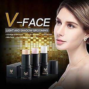 CCbeauty 3 Colors Illuminator Face Highlighter Makeup Sticks Whitening Cream Shimmer Stick Powder Foundation Stick, 0.36Oz