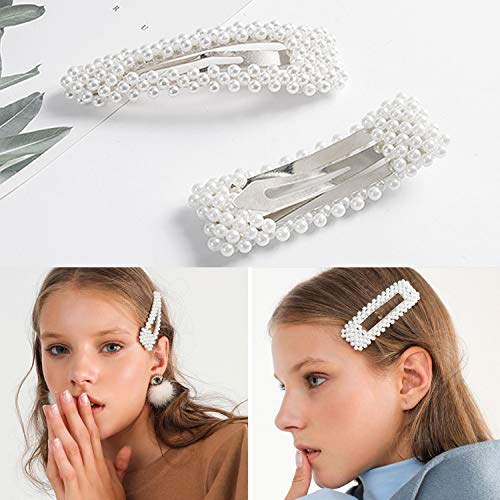 Pearl Hair Pins for Women Girls Pearl Hair Barrette Snap Clip Decorative Hair Accessories for Wedding Bridal Bridesmaid Faux Pearl Clips Trendy Cute Gift for Toddlers Kids Ladies Thick Hair Silver