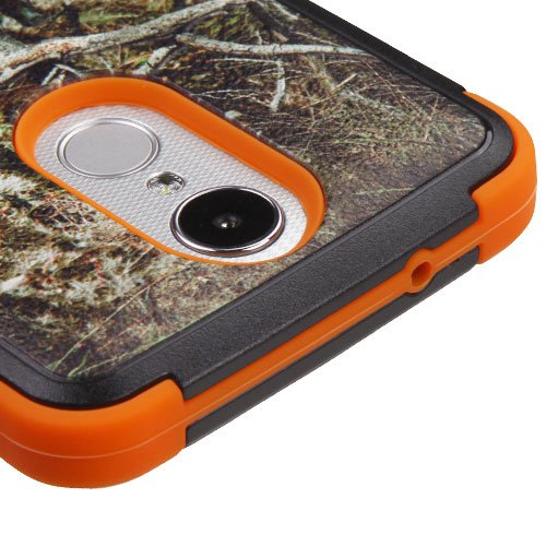 LG Aristo Case, LG Risio 2 Case, LG Phoenix 3 Case, LG Fortune Case, Rebel 2 LTE Case with Screen Protector, LUXCA Hybrid Dual Layer [Shock Proof] Protective Case Cover (Orange Camouflage)