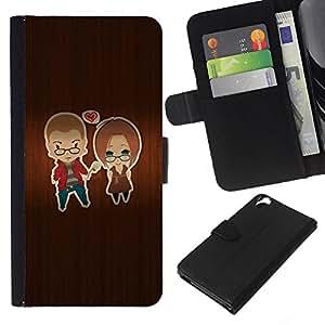 WINCASE Cuadro Funda Voltear Cuero Ranura Tarjetas TPU Carcasas Protectora Cover Case Para HTC Desire 820 - madera amantes amor corazón