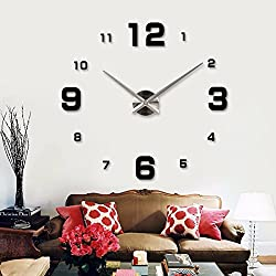 ZEM-PXD Modern minimalist DIY stickers 3D fashion watch TV background wall clock clock room,Golden