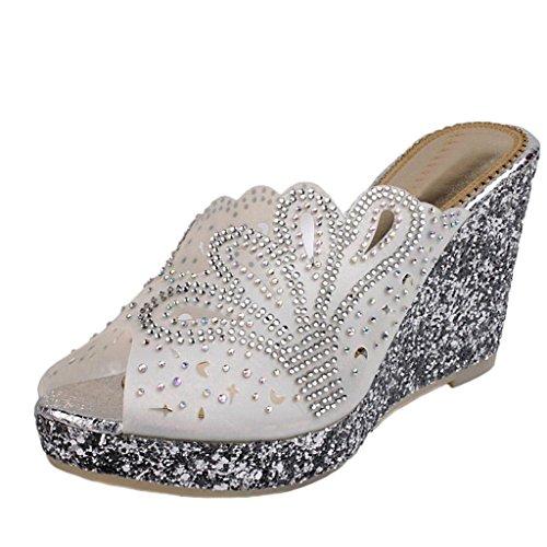 Littleboutique Women Girls Peep Toe Sandal Wedge Crystal Beaded Slide Platform Sandal Shoes white 6