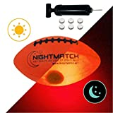 NightMatch Light Up Football - Kids Edition - INCL BALL PUMP and SPARE BATTERIES - Inside LED lights up when kicked - Glow in the Dark Football / Ballon de Futbol Américain - Size 3 - Official Size & Weight