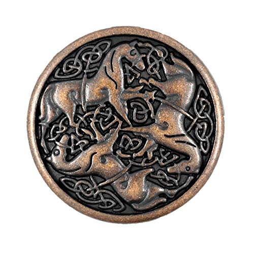 Bezelry 10 Pieces Celtic Horses Metal Shank Buttons. 25mm (1 inch) (Antique Copper)