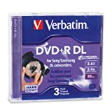 Verbatim 2.6GB 2.4X Mini Double Layer Recordable Disc DVD+R DL, 3-Disc Jewel Case 95313