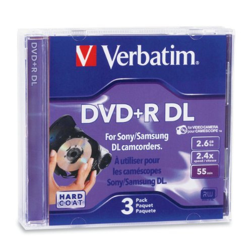 Verbatim 95313 Mini DVD+R DL 2.6GB 2.4X Branded 3pk Jewel Ca