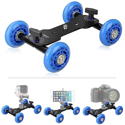"Tabletop Mobile Rolling Camera Slider Dolly Car Skater Video Track Rail with 1/4"" 3/8"" Screws for DSLR Camera Camcorder Speedlite Gopro iPhone Cellphones Flash Lights Magic Arm by pangshi"