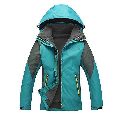 Moonbasa Women Heated Windbreaker Jacket & Detachable Liner Hoodie For Hiking Camping, Light Green, Large (Jacket Detachable Liner)
