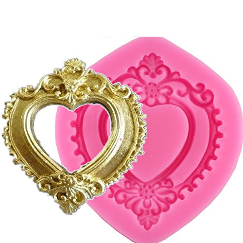 Vintage Chocolate Molds (Vintage Love Heart Shape Mirror Frame 3D Silicone Mold Fondant Chocolate Molds Cake Decorating Tools)