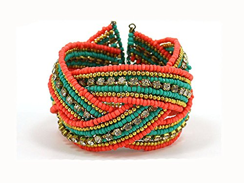 [4031194 Fashion Weave Bracelet Coral & Turquoise Colored Hand Beaded Stunning] (Indian Beaded Bracelet)