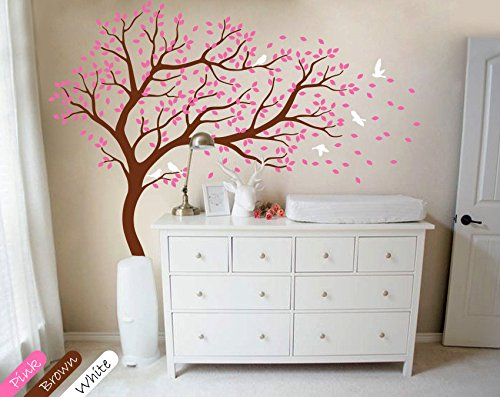 Pink Brown Wall Decor (Nursery Wall Sticker -White Tree And Flying Birds Blossom Tree Wall Decal -Tree Mural For Kids Room (Brown truck pink leaves - Right Facing))