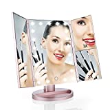 Easehold Tri-Fold Lighted Vanity Mirror Three Panel 21Pcs Led Light 180 Degree Free Rotation Countertop Cosmetic Makeup Mirror with Magnifiers (Rose Gold)