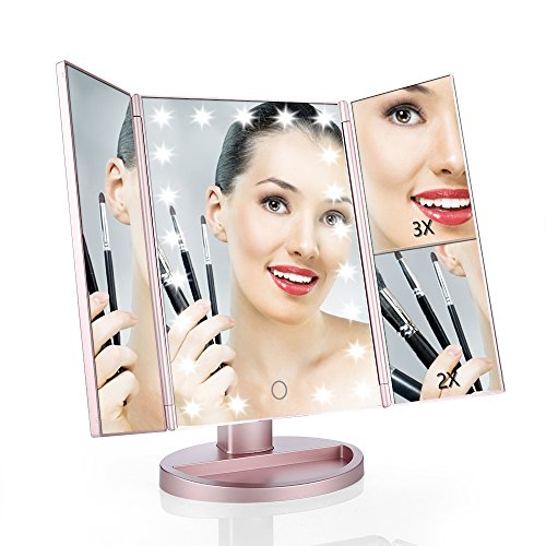 Price comparison product image Easehold Vanity Makeup Mirror with 2 X 3X Magnifiers 21 LED Lights Tri-Fold 180 Degree Adjustable Countertop Cosmetic Bathroom, Rose Gold