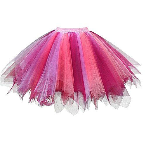 Girstunm Women's 1950s Vintage Petticoats Bubble Tutu Dance Half Slip Skirt Coral Fuchsia L/XL -
