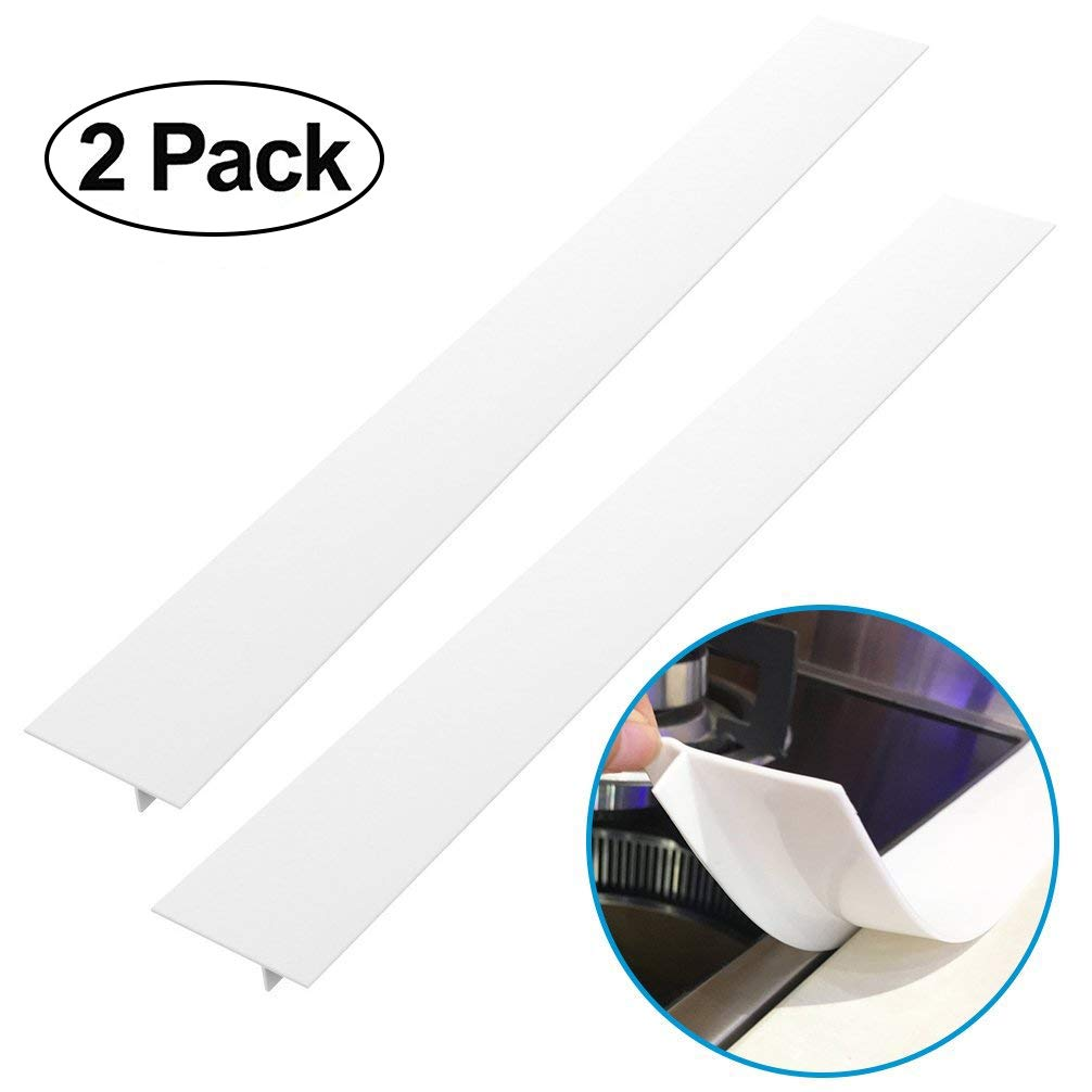 Silicone Stove Counter Gap Cover - Kitchen Wide & Long Gap Filler, Seals Spills Between Counter/Stovetop/Appliances/Oven/Washing Machine/Washer/Dryer, Heat-Resistant & Easy Clean (2 Pack, White)