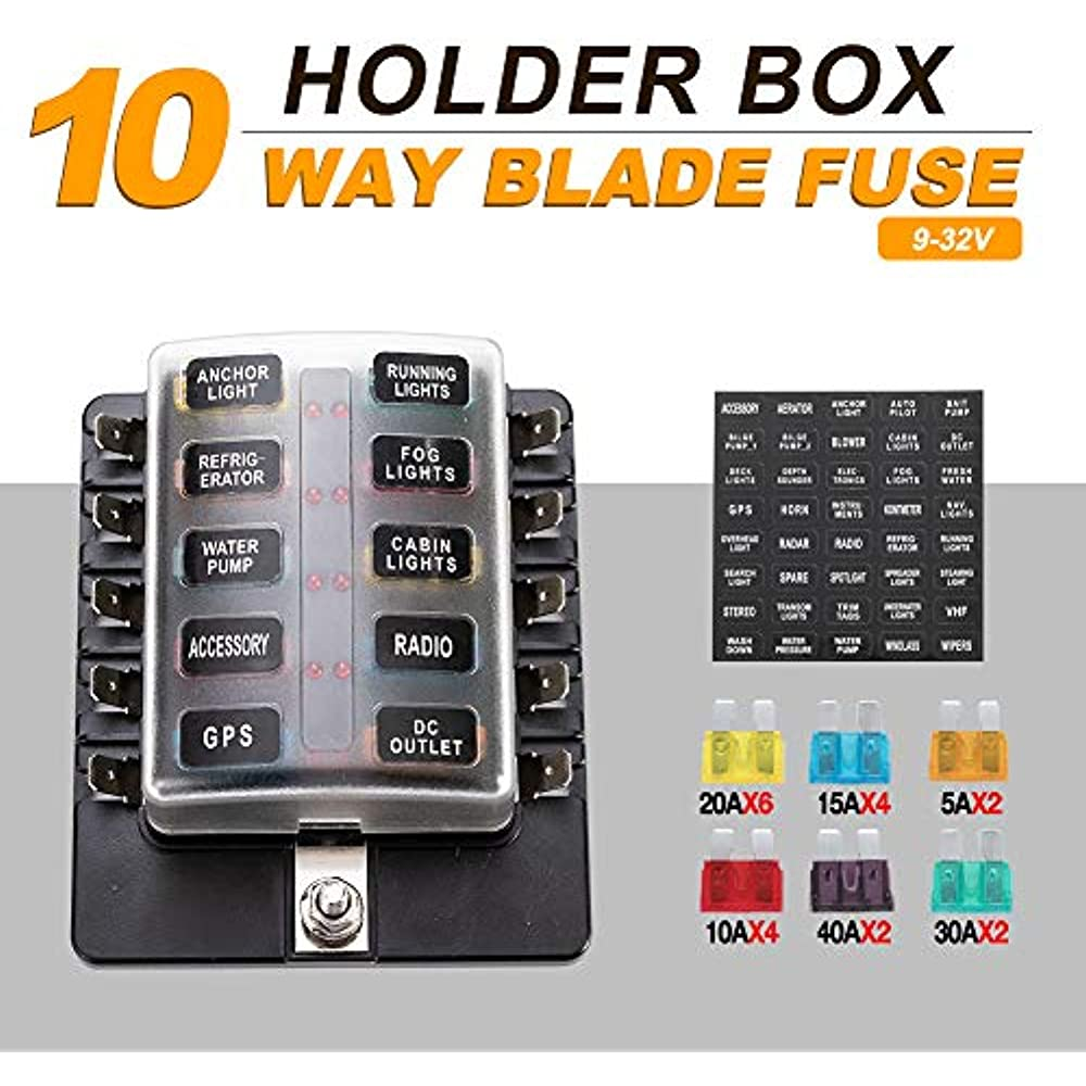 car fuse box blown 10 way fuse box blade block holder with led indicator for blown  blade block holder with led indicator