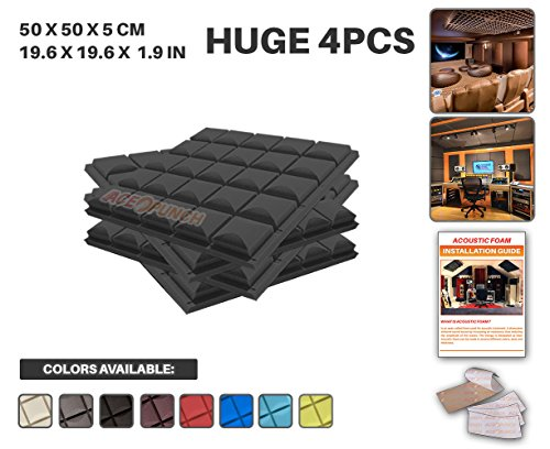 ace-punch-4-pack-black-hemisphere-grid-acoustic-foam-panel-diy-design-studio-soundproofing-wall-tile