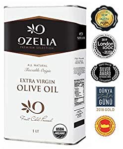 USDA Organic Extra Virgin Olive Oil by OZELIA 33 4 oz 100% Pure, Cold  Pressed, Unfiltered, Non-GMO